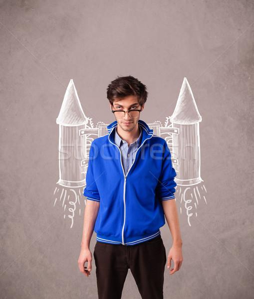 Cute Mann Jet Packung Rakete Zeichnung Stock foto © ra2studio
