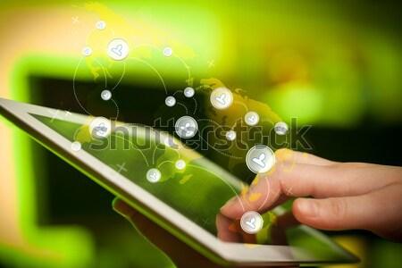 Foto stock: Mão · tocante · rede · social · dedo · indicação
