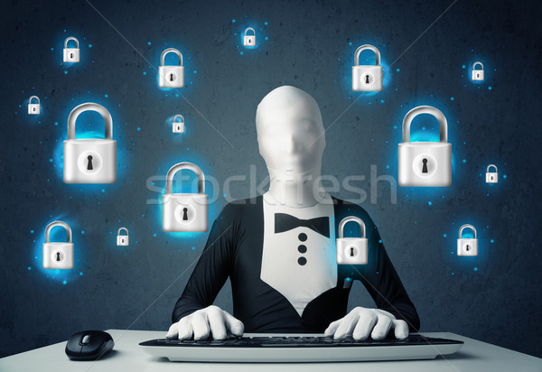 Hacker vermommen virtueel slot symbolen iconen Stockfoto © ra2studio
