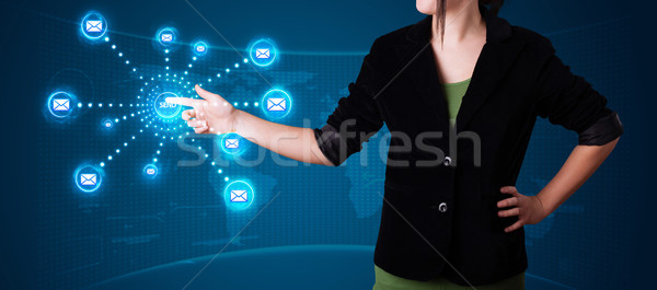 женщину виртуальный обмен сообщениями тип иконки Сток-фото © ra2studio
