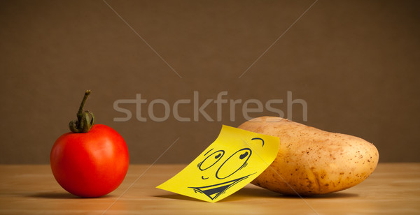 Potato with post-it note looking curiously at tomato Stock photo © ra2studio
