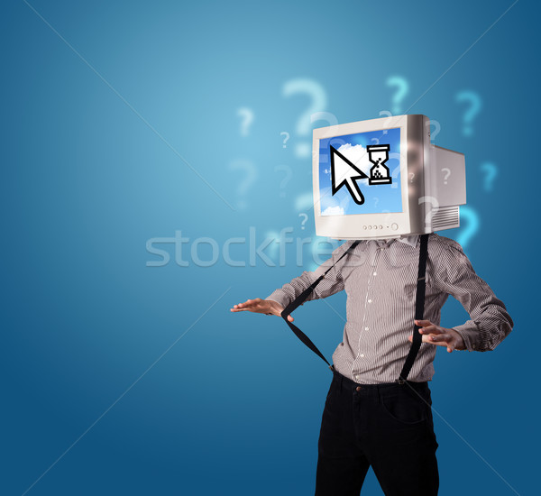 Person with a monitor head and cloud based technology on the scr Stock photo © ra2studio