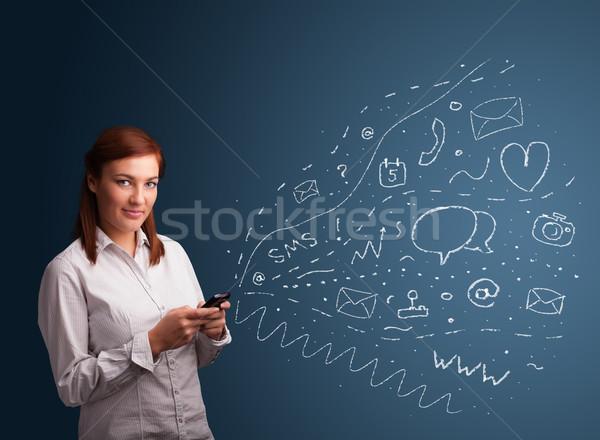 Lány gépel okostelefon különböző modern technológia Stock fotó © ra2studio