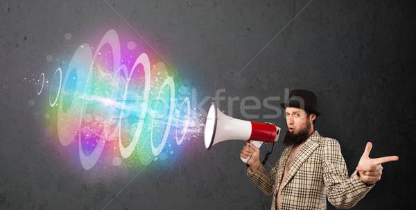 Foto stock: Homem · alto-falante · colorido · energia · viga · fora