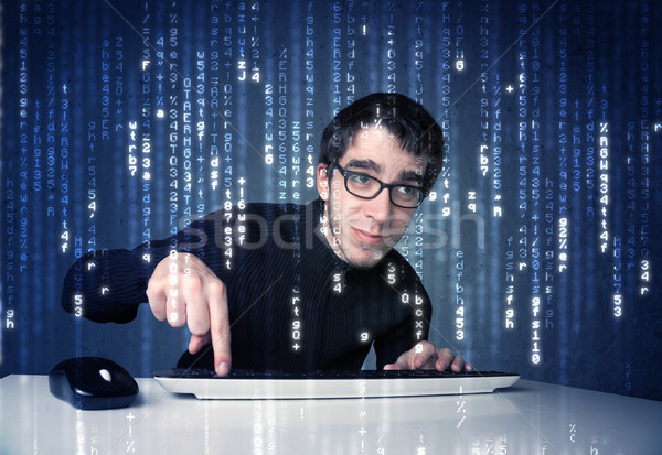 Hacker decoding information from futuristic network technology Stock photo © ra2studio