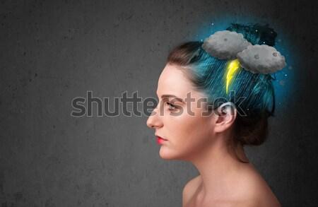 Fiatal lány zivatar villám fejfájás illusztráció üzlet Stock fotó © ra2studio
