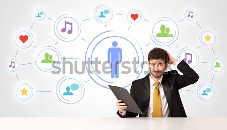 Stockfoto: Zakenman · social · media · verbinding · zakenman · vergadering · witte