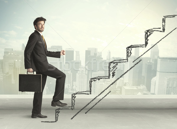 Business man climbing up on hand drawn staircase concept Stock photo © ra2studio