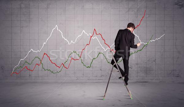 Férfi létra rajz diagram vonalak fickó Stock fotó © ra2studio