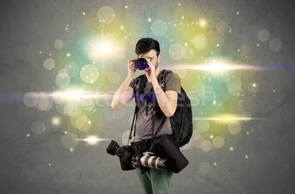 Foto stock: Fotógrafo · luces · jóvenes · amateur · profesional