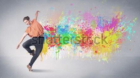Stock fotó: Gyönyörű · nő · ugrik · színes · drágakövek · kristályos · lány