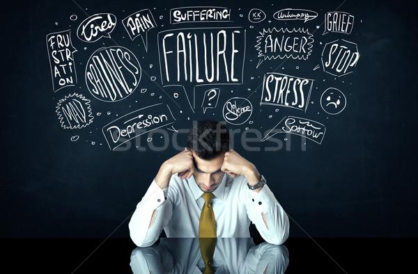 депрессия бизнесмен сидят мысли коробки Сток-фото © ra2studio