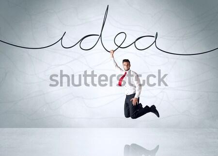Stockfoto: Opknoping · zakenman · geïsoleerd · witte · hand · ruimte
