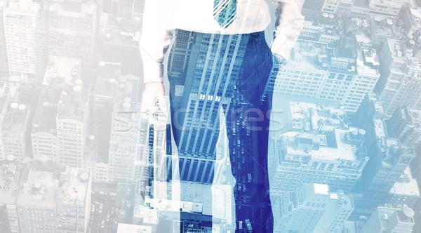 üzletember áll városkép kék üzlet égbolt Stock fotó © ra2studio