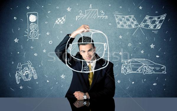 Diák álmodik boldog üzletember ül asztal Stock fotó © ra2studio