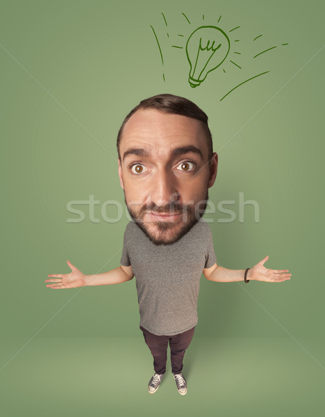 Big head person with idea bulb Stock photo © ra2studio