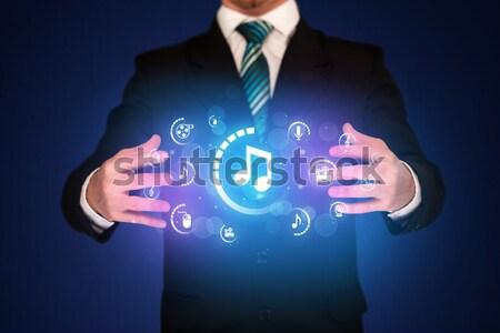 男 デジタル マルチメディア アイコン ビジネスマン ストックフォト © ra2studio