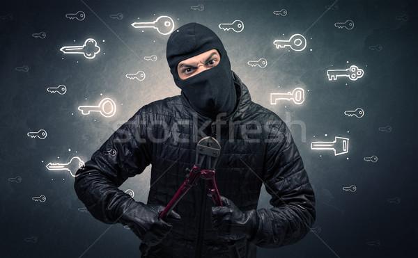 Burglar holding tool. Stock photo © ra2studio