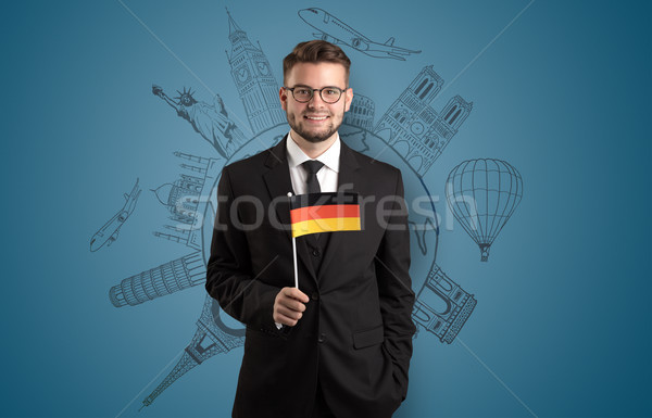 Zarif adam gezi bayrak el iş Stok fotoğraf © ra2studio