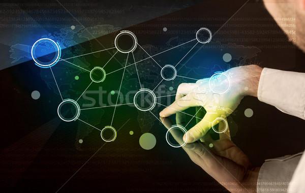 Stock fotó: Kezek · megérint · interaktív · asztal · férfi · színes