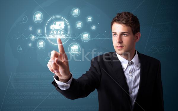 Empresario promoción envío tipo moderna Foto stock © ra2studio