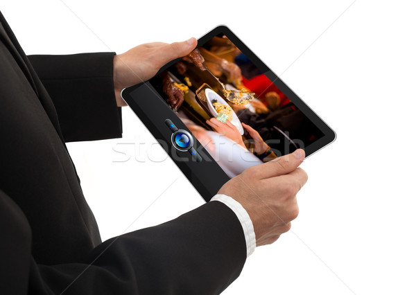 Maschio mano touchpad pc Foto d'archivio © ra2studio