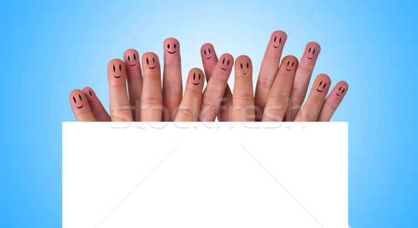 Happy group of finger smileys  Stock photo © ra2studio
