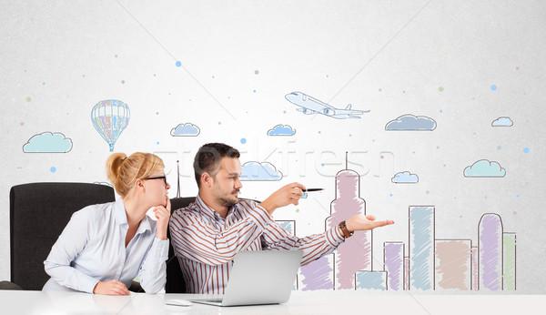 Jovem empresário empresária colorido cidade Foto stock © ra2studio