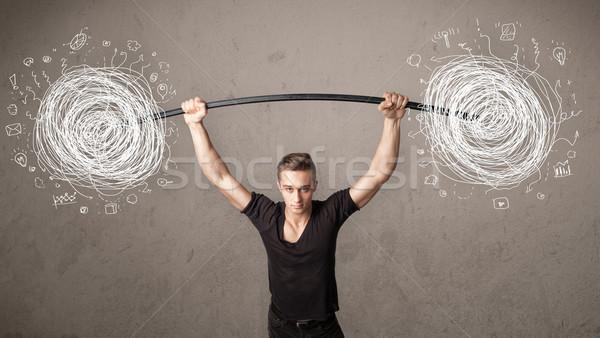 Muskuläre Mann Heben Chaos starken Hand Stock foto © ra2studio