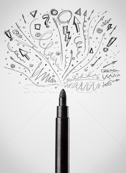 Felt pen drawing sketchy arrows Stock photo © ra2studio