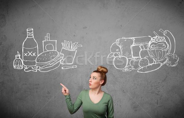 Mulher em pé saudável insalubre bastante Foto stock © ra2studio