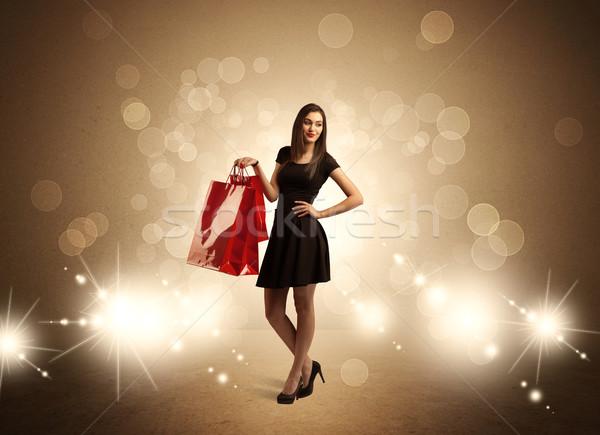 торговых Lady мешки ярко фары красивой Сток-фото © ra2studio
