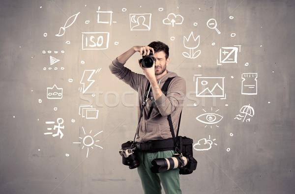 Fotograaf leren camera amateur hobby professionele Stockfoto © ra2studio