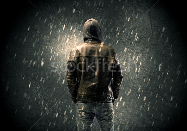 Inconnu permanent sombre homme visible Photo stock © ra2studio