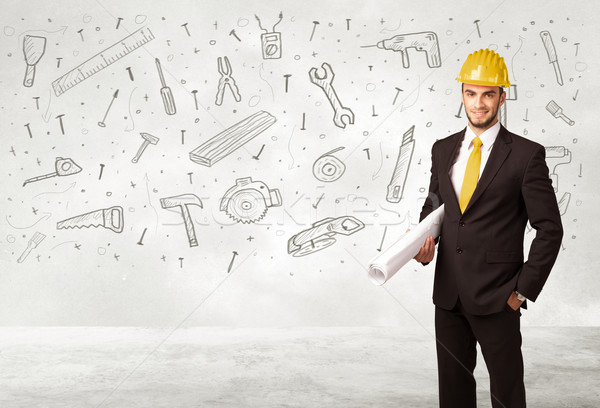 Construction worker planing with hand drawn tool icons Stock photo © ra2studio