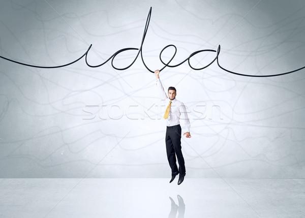 Akasztás üzletember ötlet kötél kéz űr Stock fotó © ra2studio