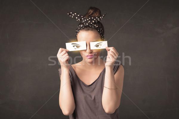 Hideg ifjonc néz papír kézzel rajzolt szemek Stock fotó © ra2studio