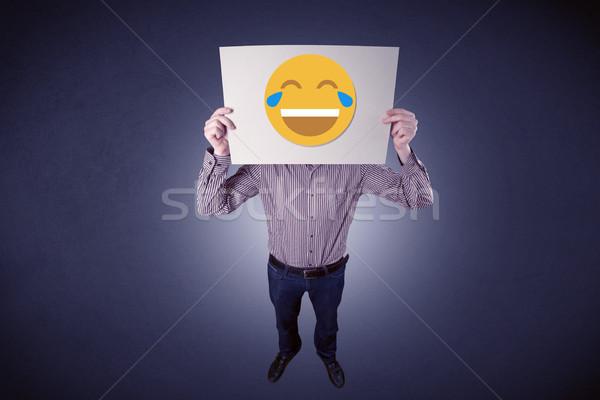 ビジネスマン 紙 笑い 顔文字 小さな ストックフォト © ra2studio