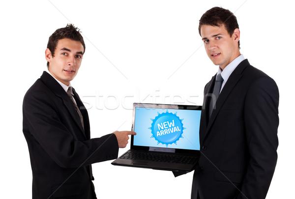 деловой человек указывая красочный продажи Label изолированный Сток-фото © ra2studio