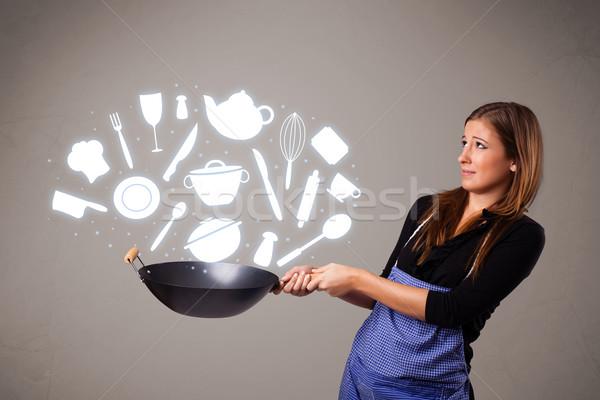 Foto d'archivio: Cucina · accessori · icone · bella · giovani
