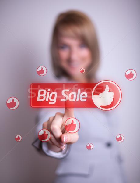 Stock fotó: Nő · kéz · kisajtolás · nagy · vásár · gomb