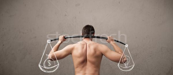 Flaco tipo equilibrado funny hombre cuerpo Foto stock © ra2studio