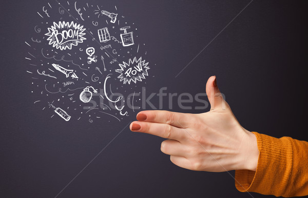 Sketched explosives coming out of gun shaped hands Stock photo © ra2studio