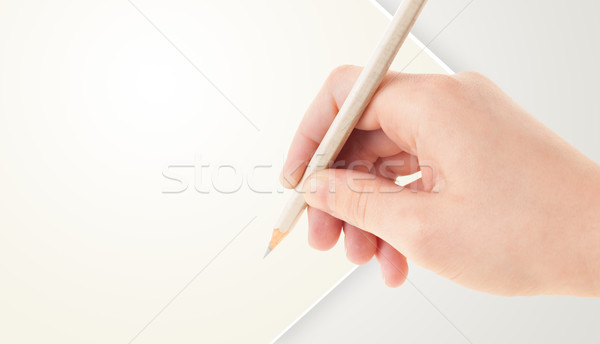 Foto d'archivio: Mano · umana · disegno · matita · vuota · carta · modello