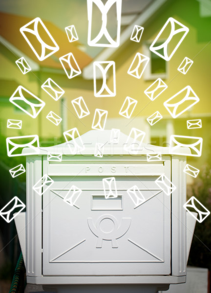 Stockfoto: Mailbox · brief · iconen · groene · papier