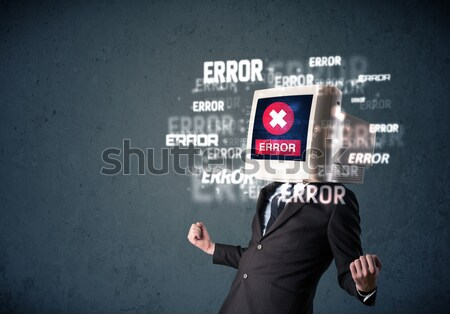 Female monitor head with error signs on the display screen Stock photo © ra2studio