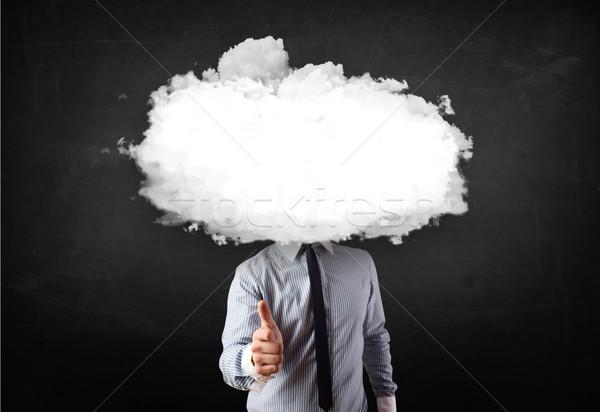 üzletember fehér felhő fej koszos számítógép Stock fotó © ra2studio