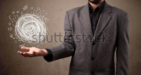 Chaos Hand Geschäftsmann jungen halten Mann Stock foto © ra2studio