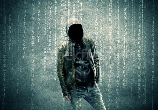 怒っ 神秘的な ハッカー 番号 成人 を ストックフォト © ra2studio