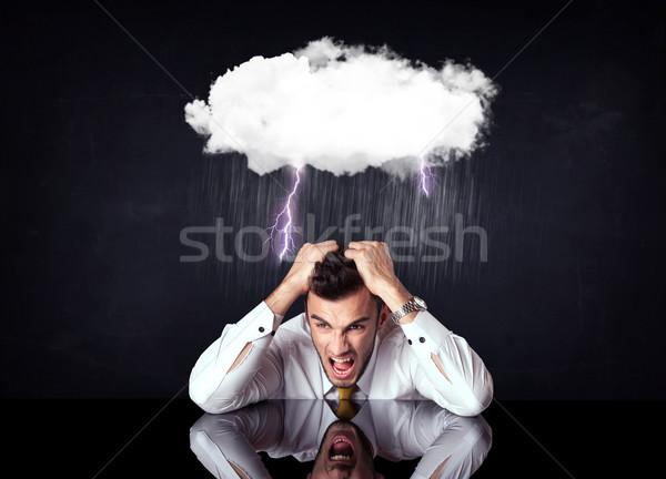 Bunalımlı işadamı oturma bulut yıldırım yağmurlu Stok fotoğraf © ra2studio